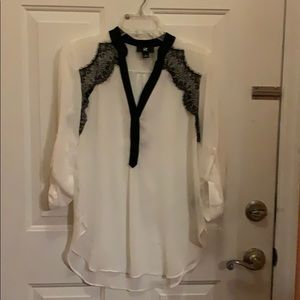 IZ Byer white blouse with black lace medium